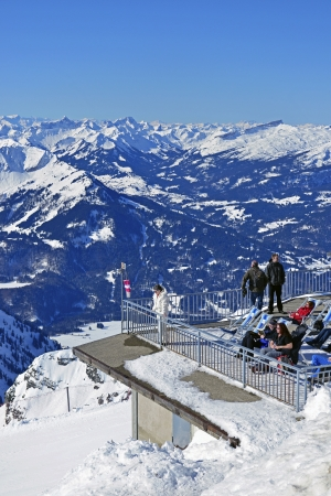 Viewing platform at the foghorn at the mountain station Hoefatsblick