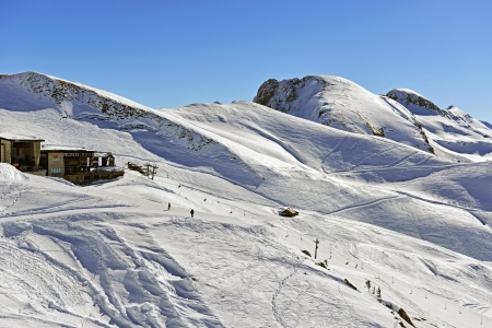 The Panorama at the mountain station of the Hoefatsblick Nebelhornbahn gives fantastic views of the Bavarian mountains
