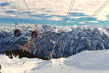 Panorama from the summit station of the Fellhornbahn the Alps Editorial