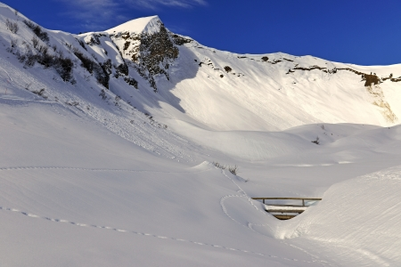 Popular ski resort in winter and hiking  Stock Photo