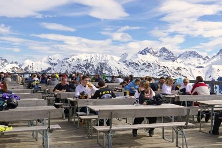 Summit restaurant located on a popular ski resort in winter