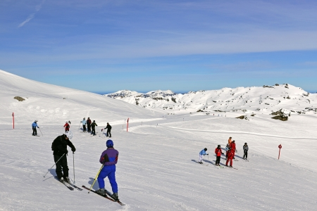 Skiers on resort, The High Ifen in the Allgaeuer Alps, west of Kleinwalsertals Editorial