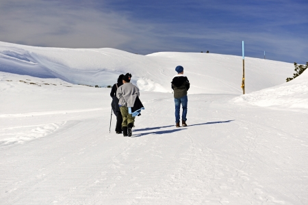 People walking in the  Alps, west of Kleinwalsertals
