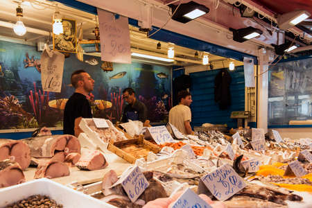 Fresh fish market stalls in the old town of Palermo