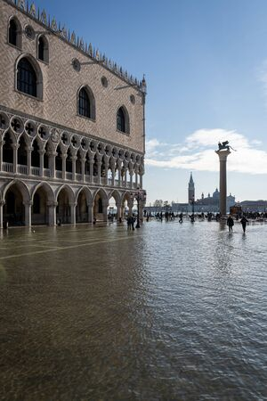A view of high water levels in Venice Italy
