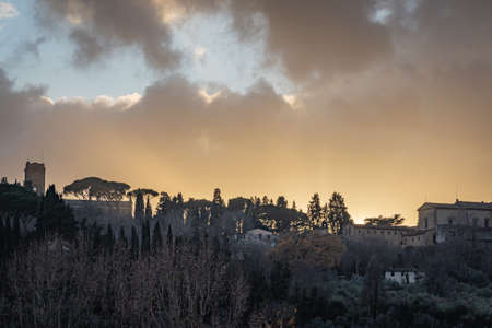 A beautiful sunset in Florence Italy Stockfoto