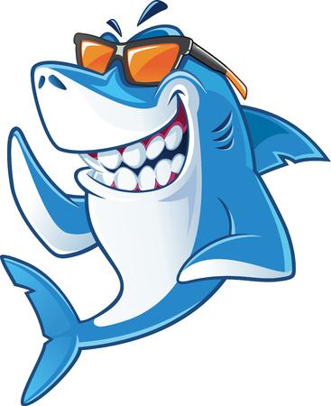 lachende haai met zonnebril