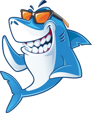 smiling shark with sunglasses Çizim
