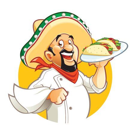 Cartoon smiling Mexican chef holds plate with tacos