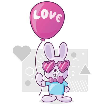 cute rabbit with heart shaped sunglasses holds a balloon with love sign Illustration