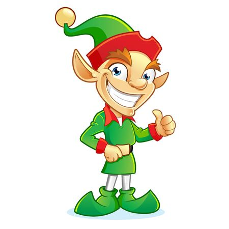 Smiling Christmas elf cartoon character showing thumbs up sign