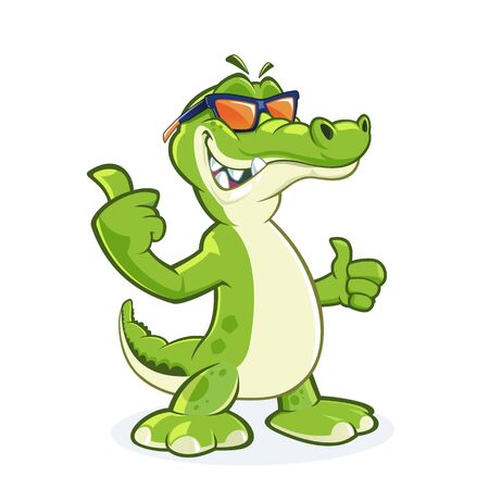 Smiling Crocodile Cartoon Character With Sunglasses with thumb up