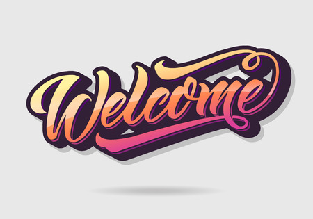 Welcome lettering, graffiti style. Handwritten modern calligraphy, brush painted letters.  illustration for banners, labels, badges, prints, posters, shops, displays, showcases, web. Çizim