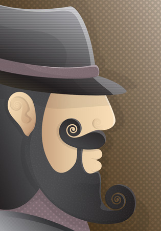indy: a man with a curly beard and black hat Illustration