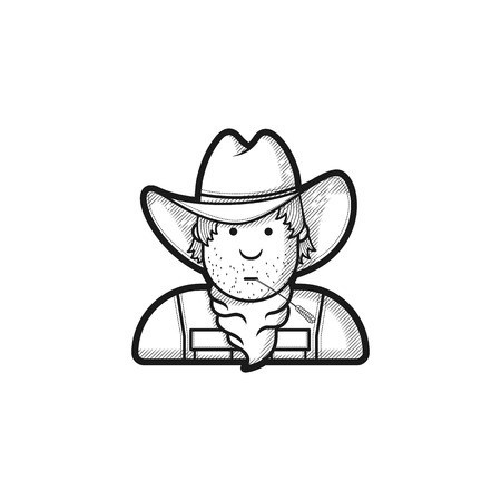 gunman: Contour flat character cowboy icon hat and cape