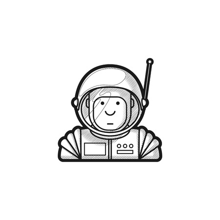 contour icon leuke astronaut in een pak en helm