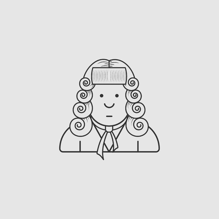magistrate: contour icon judge in a wig and gown