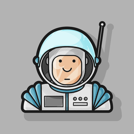 friendliness: contour icon cute astronaut in a suit and helmet