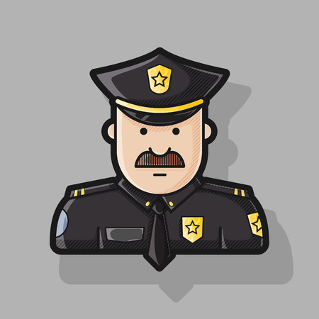 gorra policía: la policía icono con uniformes de color negro con placa de policía