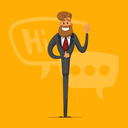 Happy man businessman greets and says that everything is OK. Stylish businessman-hipster. Illustration