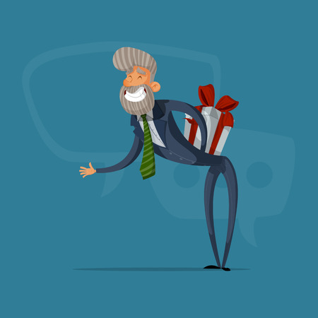 Happy businessman or manager greeted with a gift behind his back. Illustration