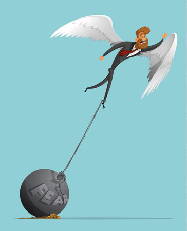 Sad man, businessman with wings like an angel, tries to take off, but it does not allow the severity of the fear, a plumb chain. Angel wings. The severity of fear. Stylish businessman-hipster.