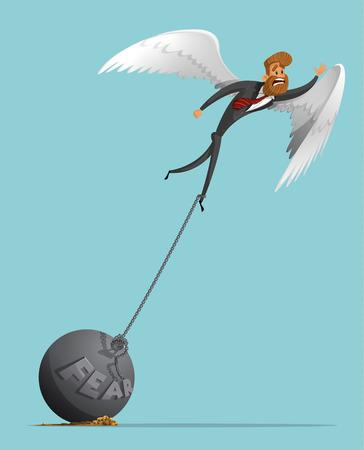 ali angelo: Uomo triste, uomo d'affari con le ali come un angelo, cerca di decollare, ma non consente la gravità della paura, una catena di piombo. Ali d'angelo. La gravità della paura. Elegante uomo d'affari-pantaloni a vita bassa.