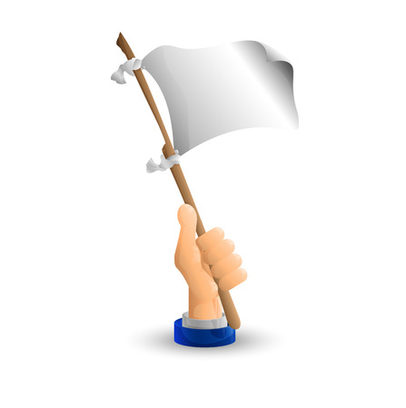 truce: Arm. Business hand. The white flag in his hand. Capitulation. 3D icon. Flat. Vector illustration.