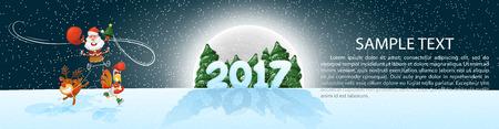 Christmas, banner 2017, panoramma.  イラスト・ベクター素材