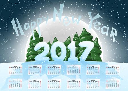 Calendar 2017. Happy New Year.