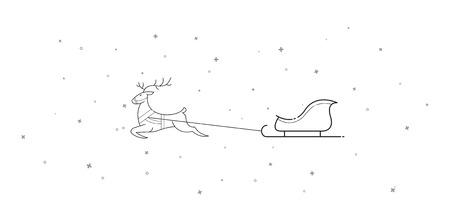New Year. Christmas. Xmas. The deer and sleigh fly across the sky. Cartoon. Contour. Isolate. Stock vector.