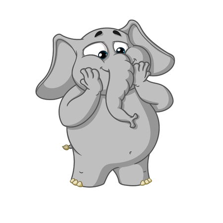 Big collection vector cartoon characters of elephants on an isolated background. Excited Surprised Illustration