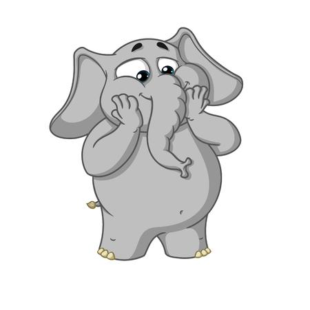 Grote collectie vector cartoon karakters van olifanten op een geïsoleerde achtergrond. Opgewonden Verrast