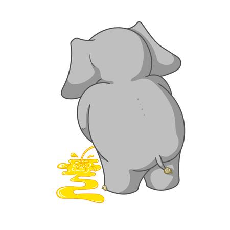 Personnages de dessin animé de grande collection vector d'éléphants sur un fond isolé. Uriner Banque d'images - 81499353