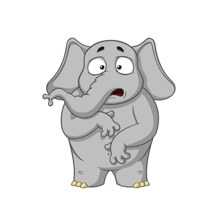 Elephant. Character. Surprised. He is surprised. Wow. Big collection of isolated elephants. Vector, cartoon Illustration