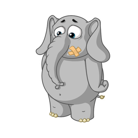 glued: Big collection vector cartoon characters of elephants on an isolated background. Stands with mouth sealed