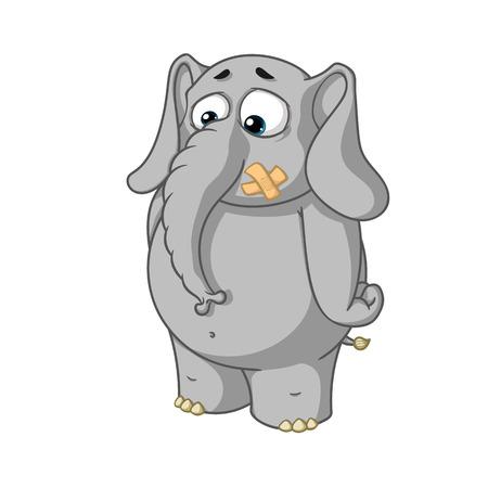 boca cerrada: Gran colección de personajes de dibujos animados de vectores de elefantes sobre un fondo aislado. Soportes con sellado bucal Vectores