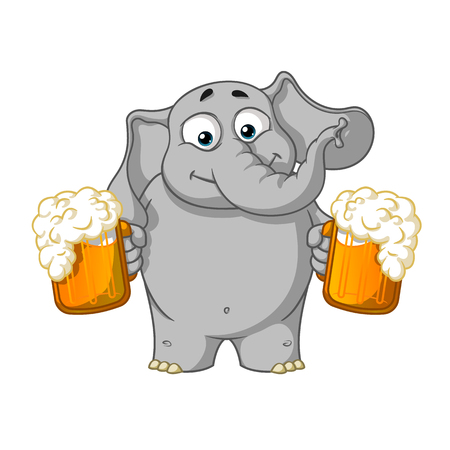Elephant. Character. He holds a mug of beer and offers a drink. Big collection of isolated elephants. Vector, cartoon