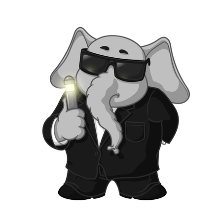 Big collection vector cartoon characters of elephants on an isolated background. Erasing memory. In a black suit.