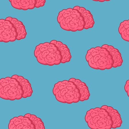 Seamless pattern pink brain on blue background