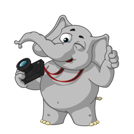 Big collection vector cartoon characters of elephants on an isolated background.