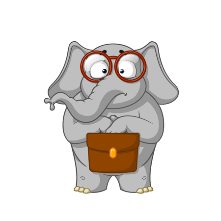 Elephant, the botanist with glasses is holding a briefcase in his hands.
