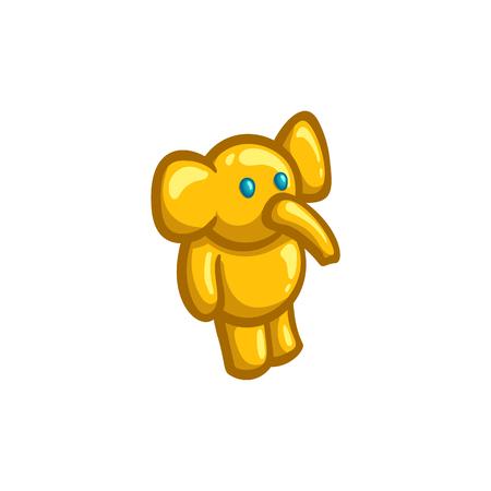 talisman: Estatuilla dorada de un elefante de juguete, ilustración vectorial