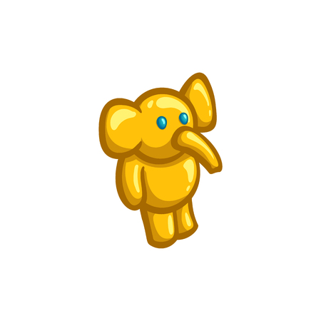 Golden figurine of a toy elephant, vector illustration