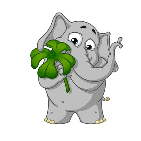Holds clover for good luck