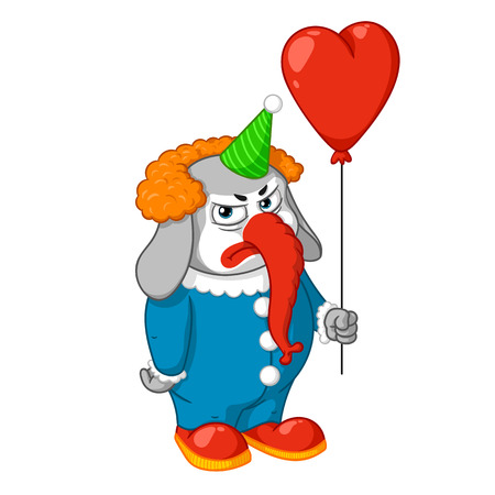 Elephant. Character. Evil clown with a balloon. Big collection of isolated elephants. Vector, cartoon. Stock Illustratie