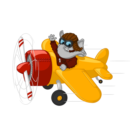 Character. Elephant is flying on an airplane. Big collection of isolated elephants. Vector, cartoon.