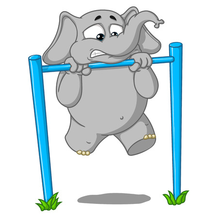 Elephant. Character. Pullups on the bar. Its hard for him. Big collection of isolated elephants. Vector, cartoon.