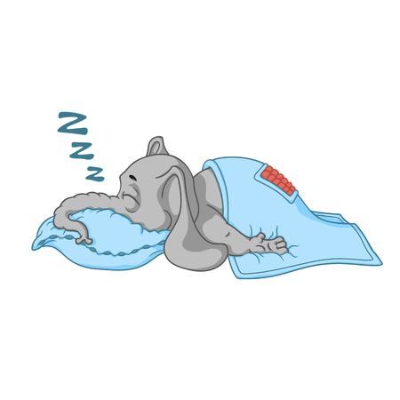 Elefante. Carattere. Dorme con un sonno profondo, coperto da una coperta. Grande collezione di elefanti isolati. Vettore, cartone animato. Vettoriali