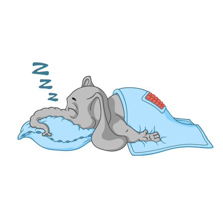 asleep: Elephant. Character. He sleeps with a deep sleep, covered with a blanket. Big collection of isolated elephants. Vector, cartoon.